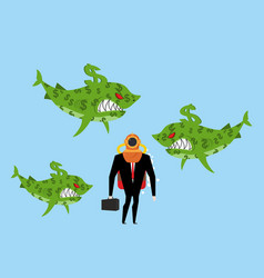 businessman among business sharks dollar vector image