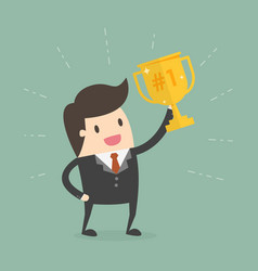 businessman holding a trophy vector image