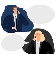 businesspeople phone conversation vector image