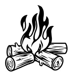 Campfire vintage tattoo template vector