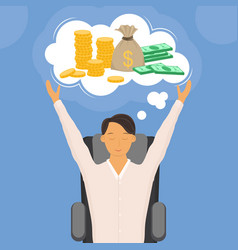 cartoon color character man dreaming money concept vector image