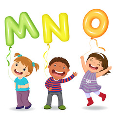 Cartoon kids holding letter mno shaped balloons vector