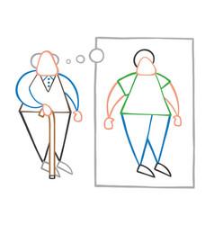 Cartoon old man standing with wooden walking vector