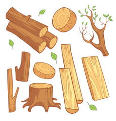 Cartoon wooden materials lumber firewood wood vector