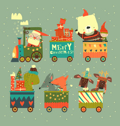 cheerful christmas train with santa and animals vector image