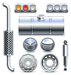 Chromed truck parts set 1 vector