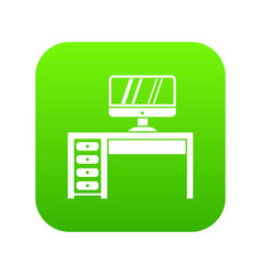 computer desk workplace icon digital green vector image