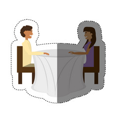 Couple sitting romantic dating shadow vector
