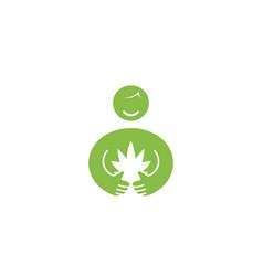 creative person holding cannabis logo vector image