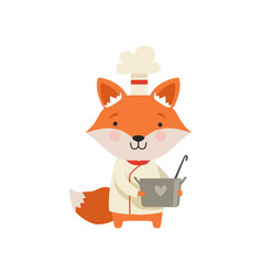 Cute fox in chef uniform holding saucepan cartoon vector