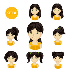 Cute little girls with black hair and various hair vector
