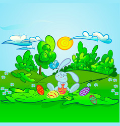 Cute rabbit with easter vector