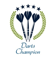Darts shampion sporting emblem vector image