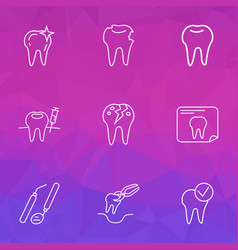 dental icons line style set with cracked tooth vector image