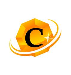 Diamond letter c vector