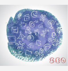 doodle hand drawing sketchy seo icons composition vector image