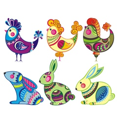 Easter rabbits and chickens vector image vector image