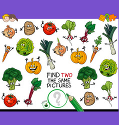 Find two the same vegetables game vector