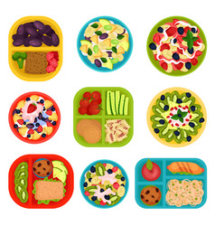 Flat set of bowls with fruit salads and vector