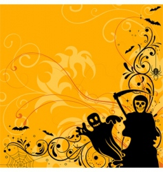 floral Halloween background vector image