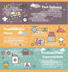 food delivery flat line art banner set vector image