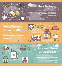 Food delivery flat line art banner set vector
