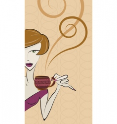 girl drinking coffee vector image vector image