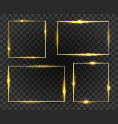 Golden glow frames set vector