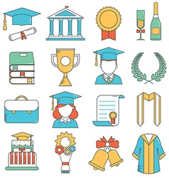 Graduation Thin Line Icons vector