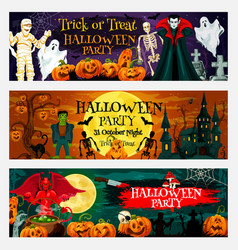 Halloween party invitation banner with pumpkin vector