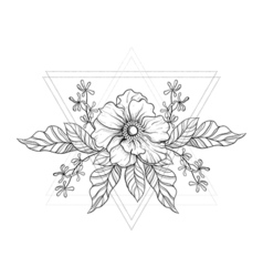 Hand drawn boho tattoo Blackwork flower in hipster vector image