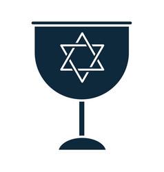 Hanukkah goblet with star david celebration vector