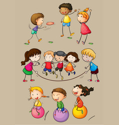 Happy children playing games vector