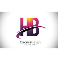 Hb h b purple letter logo with swoosh design vector