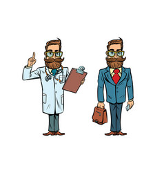 Hipster doctor and businessman vector