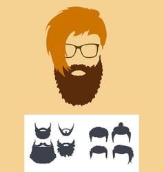 Hipster fashion set bearded face avatar vector