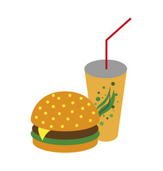 Icon in flat design for restaurant burger and soda vector