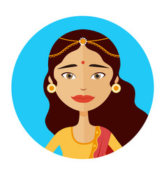 Indian woman avatar isolated vector