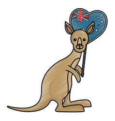 kangaroo and australia flag vector image