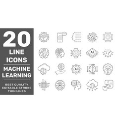 linear icon set data science technology and vector image