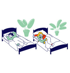 little kids sleeping in their beds in kindergarten vector image