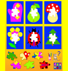 Logic puzzle game for children need to find vector