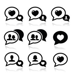 love speech bubbles couples icons set vector image