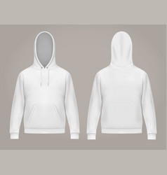 Man hoodie or front and back white men hoody vector