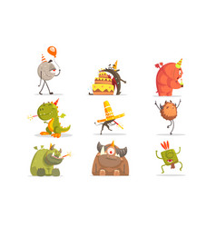 Monsters on birthday party in funny situations vector