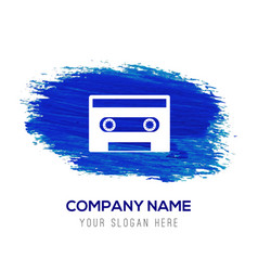 Music tape icon - blue watercolor background vector