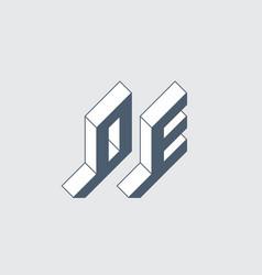 Oe - 2-letter code isometric 3d font for design vector