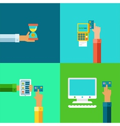 online banking concepts set - pay and receive vector image