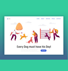Owner training command different dog landing page vector