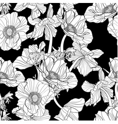 pattern with hand drawn line anemone flowers vector image